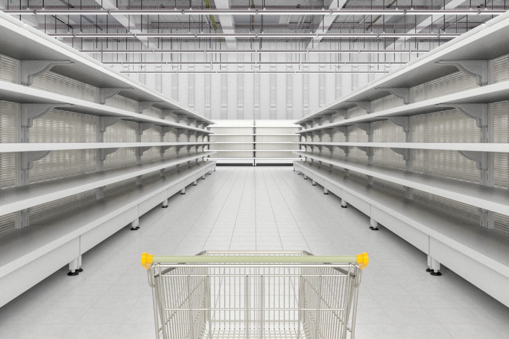 Leere Supermarktregale sind die Regel gerade. Empty supermarket shelves are the norm at the moment.